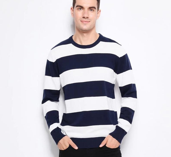 Knitted Sweater Thick Stripes Slim Fit Pullover