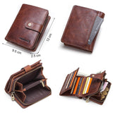 leather RFID vintage wallet with coin pocket zipper- card holders - NewVision