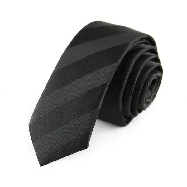 Long Men's Skinny Ties Black Polyester - NewVision