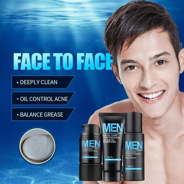 Men's face care 1set= 3 kinds of  Face cream+Cleanser+Toner for  acne oil control facial cleanser Whitening