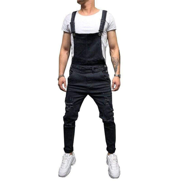 Men's Ripped Jeans Overalls