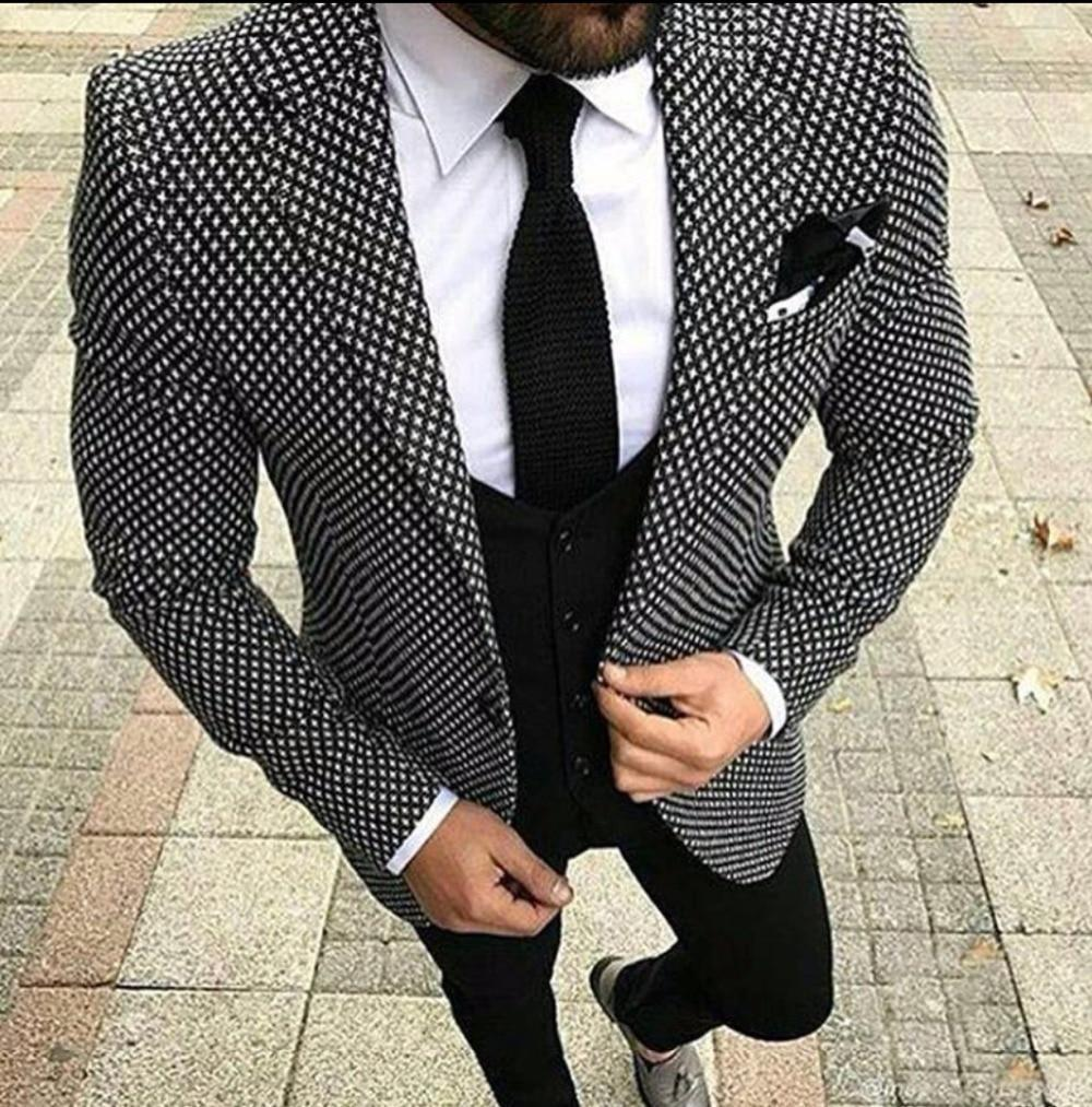 Mens Checkered Suit Houndstooth Custom Made 3 Pieces