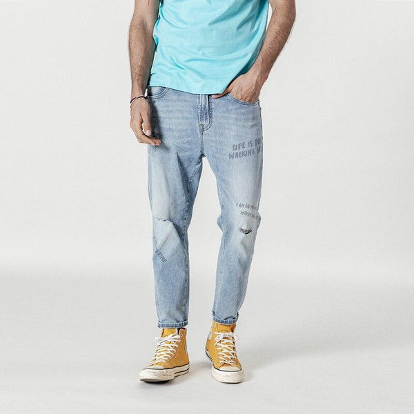 New jeans print ripped hip hop streetwear