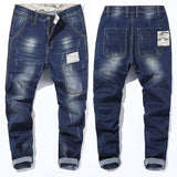 Straight Fit Blue Stretch Denim Jeans