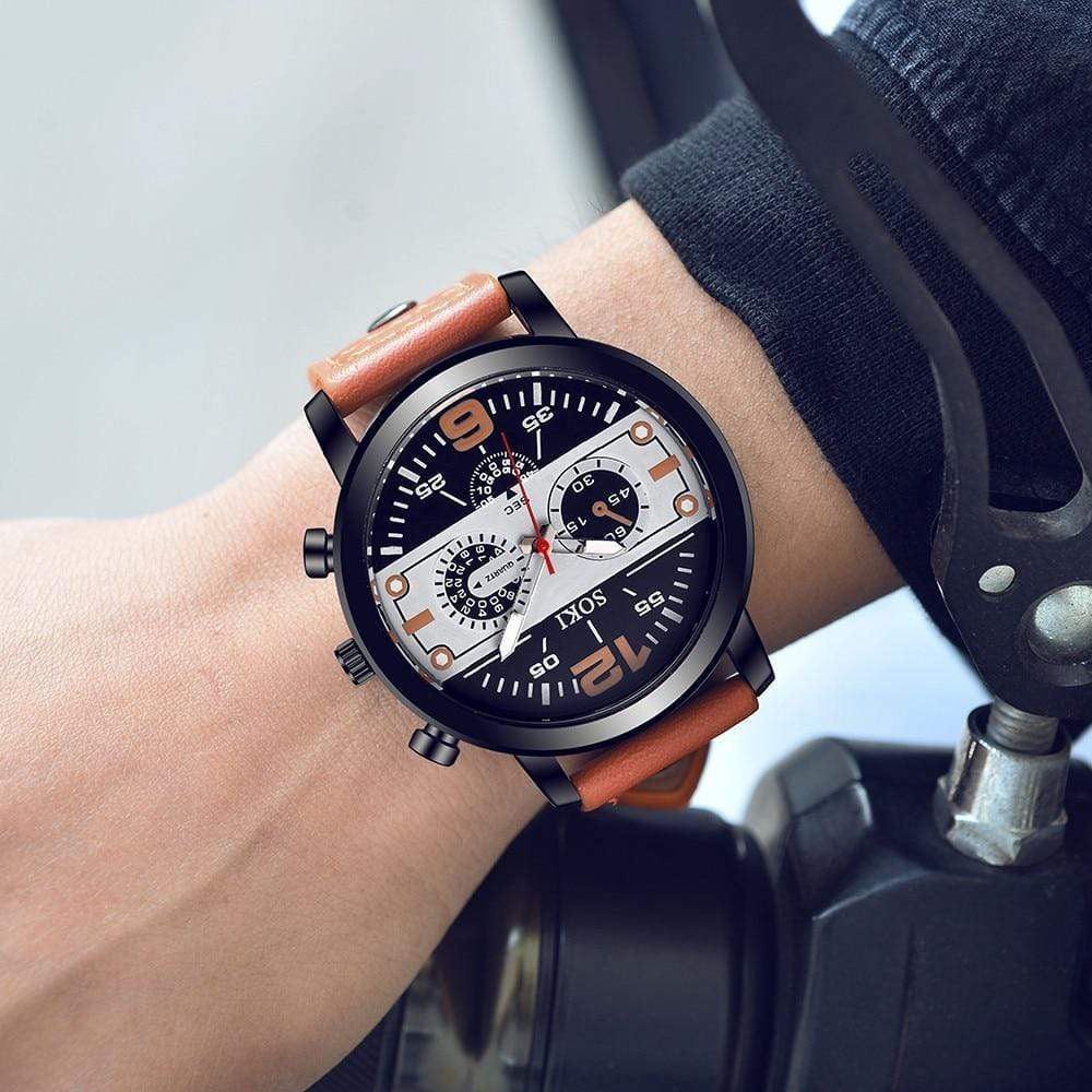 Wristwatches Male Fashion Leather Band