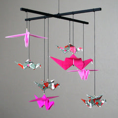 Pink and Black Small Origami Crane Mobile
