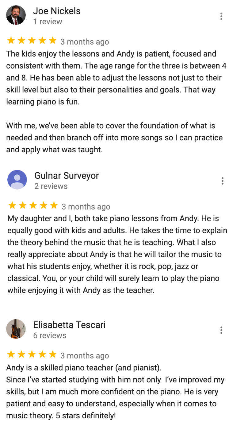 Review of Andy's Piano Lessons in Richmond TX