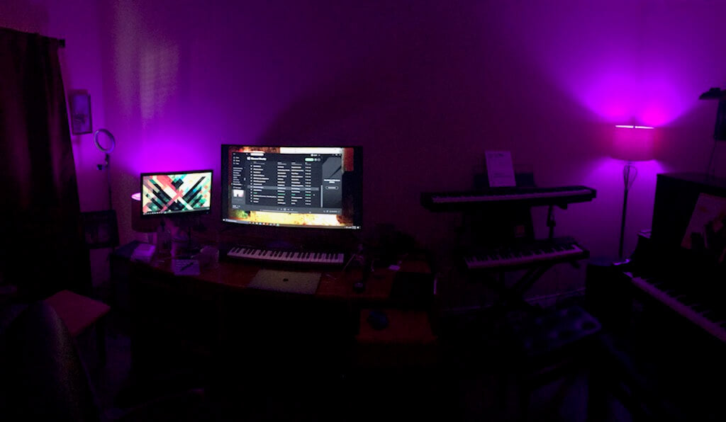 Studio with Purple Lights