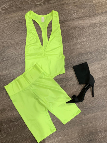 LIME LIGHT BIKER SHORT SET