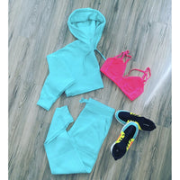 TWO PIECE CROPPED HOODIE JOGGER SET