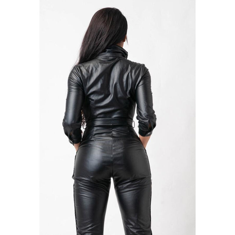 MOTO BELTED FAUX LEATHER JUMPSUIT