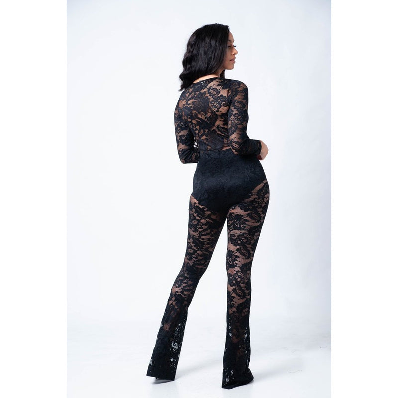 LACED WITH IT PLUNGE BODY-CON JUMPSUIT