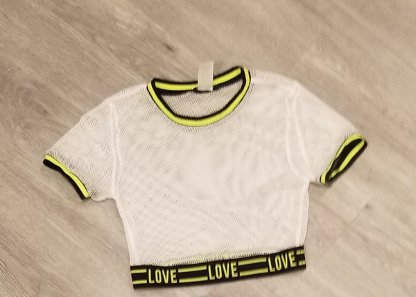 LOVE NEST NET CROP TOP