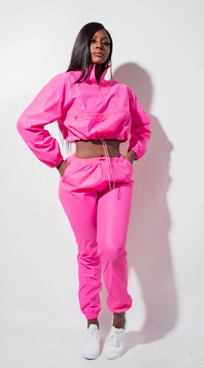 BUBBLE GUM REFELCTIVE WINDBREAKER PANT SET
