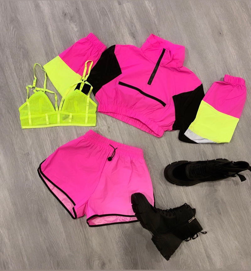 CROPPED WINDBREAKER REFLECTIVE SHORT SETS