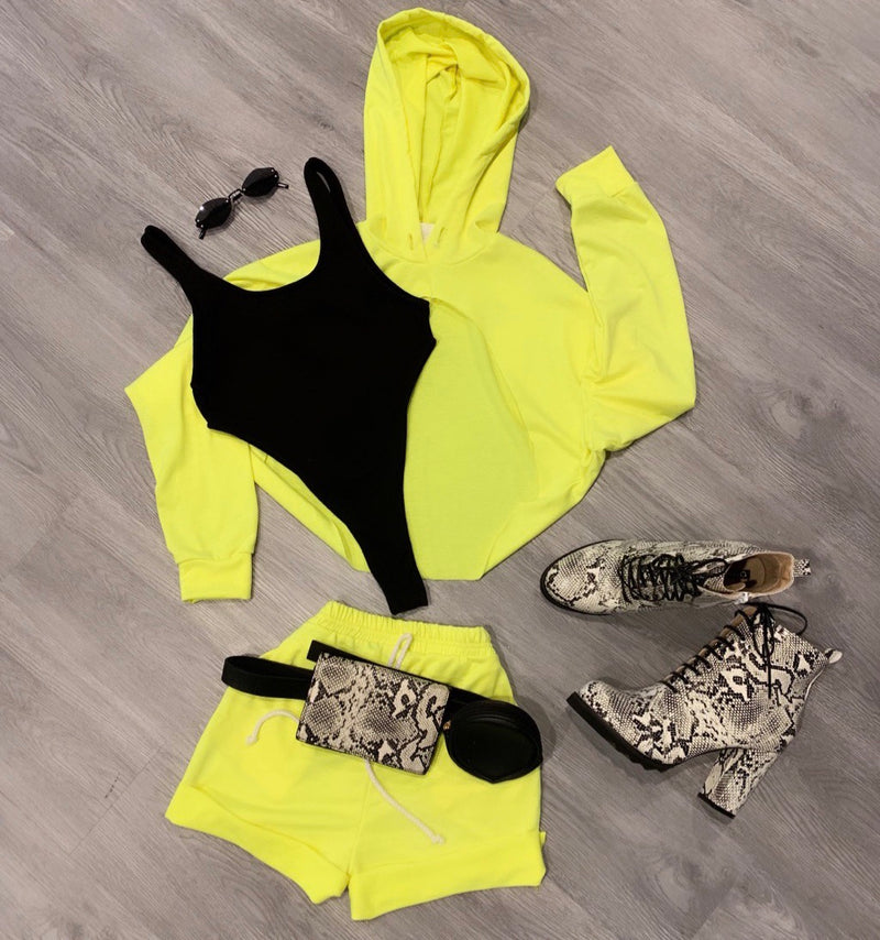 MELLOW  YELLOW CUT-OUT HOODIE SET