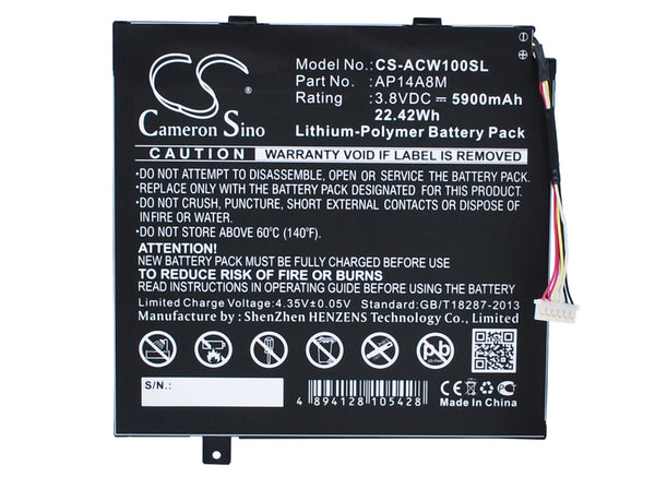 Acer A3-A20FHD, Aspire Switch 10, Iconia Tab 10 A3-A20, NTL4TET016, SW5-011, SW5-012, SW5-012P Replacement Battery