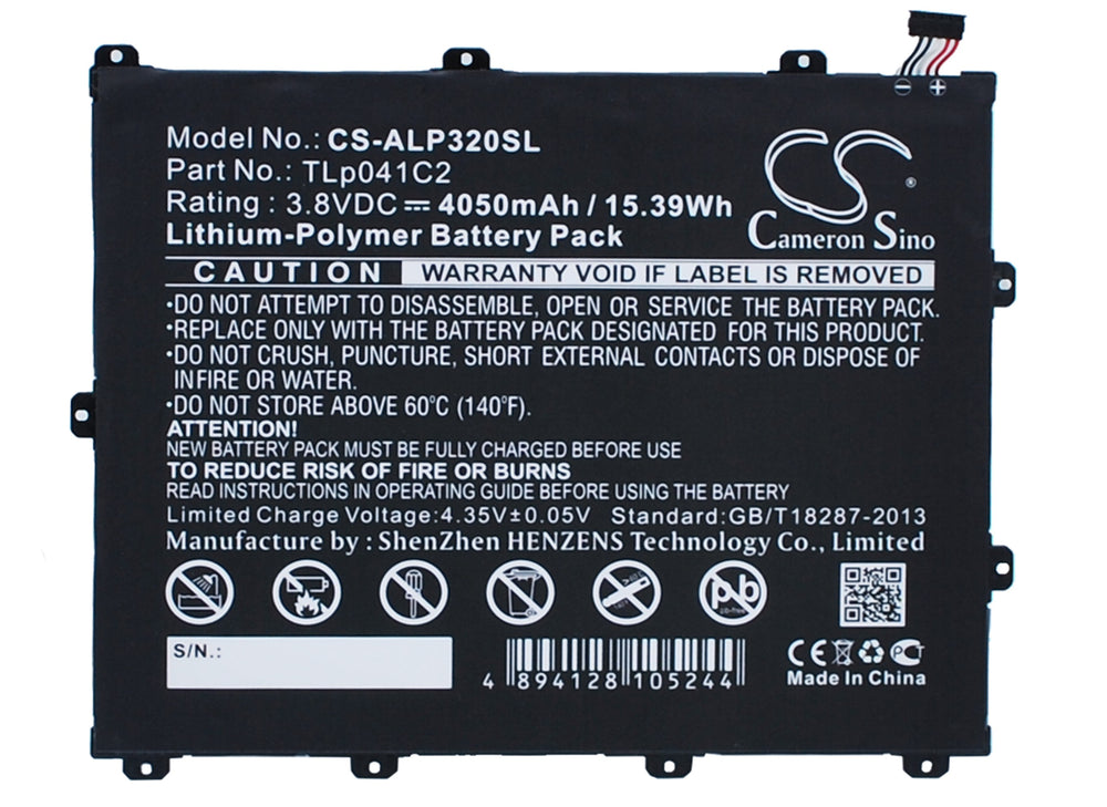 Battery for Alcatel OneTouch Hero 8, OneTouch POP 8, OT-9020A, OT-D820X, OT-P320X, OT-P350X, P320A, Trek HD