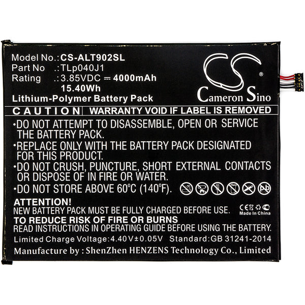 Battery for Alcatel A30 Tablet, A30 Tablet 4G LTE, 9024W