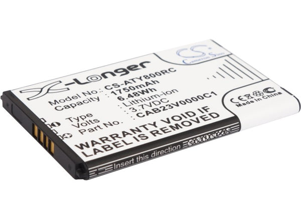 Alcatel One Touch Link Y580, One Touch Link Y800, One Touch Link Y800Z, One Touch Y580, One Touch Y580D Replacement Battery