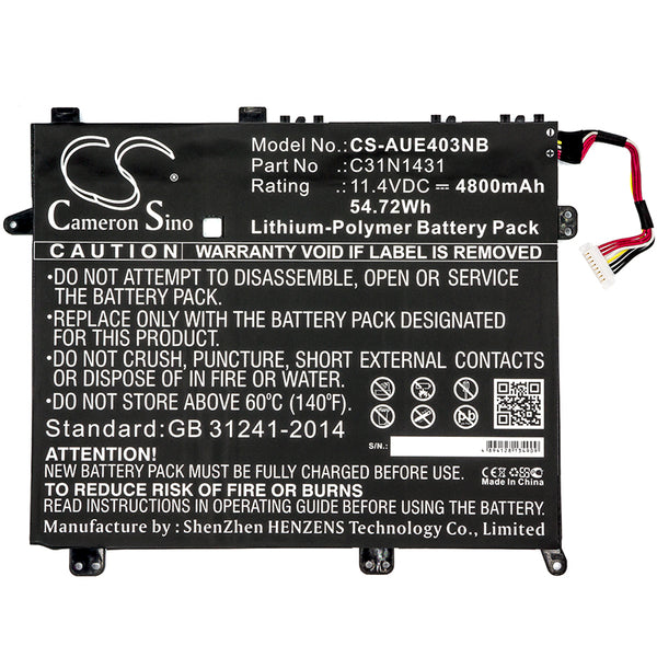 Battery for Asus Eee Book E403S, Eee Book E403SA, Eee PC E403S, Eee PC E403SA, VivoBook E403NA
