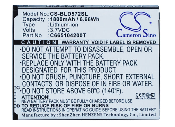BLU D572, D572A, D572i, Studio 5.0 S II, Studio 5.0S, W510U, Y530Q Replacement Battery