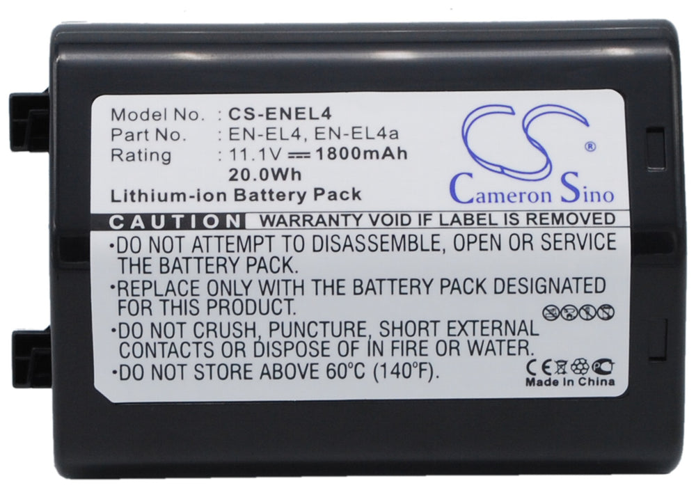 Battery for Nikon EN-EL4, EN-EL4a, EN-EL4e (1800mAh)