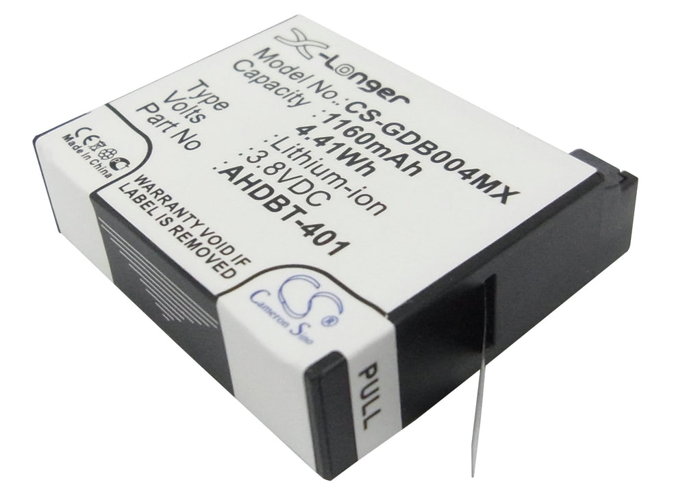 Battery for GoPro Hero 4, Hero 4+ (1160mAh)