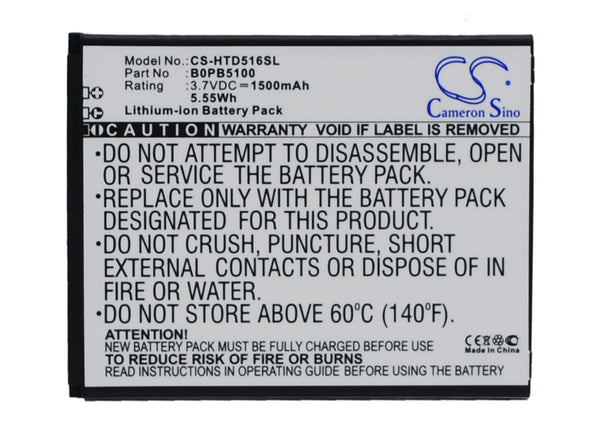 HTC D316, D316d, D516, D516c, D516d, D516t, D516w, Desire 516, Desire 516c, Desire 516t, Desire 516w (1500mAh) Replacement Battery
