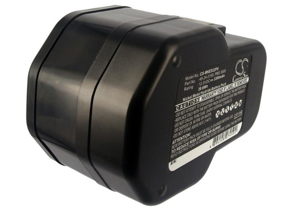 Battery for Milwaukee 0502-23, 0502-25, 0502-52, 12V Power-Plus, B12, BF12, BX12, BXL12, BXS12, LokTor P12PX (3300mAh)