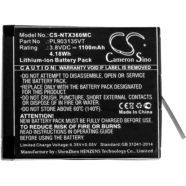 Battery for Insta360 One X, PL903135VT, PL903135VT-S01