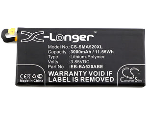 Battery for Samsung Galaxy A5 2017, SM-A520F, SM-A520F/DS, SM-A520K, SM-A520L, SM-A520S