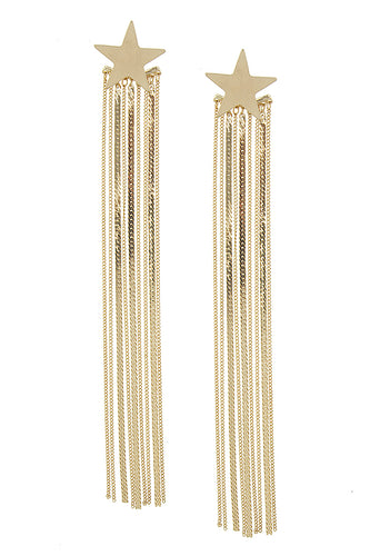 Becca Long Tassel Star Stud Earrings