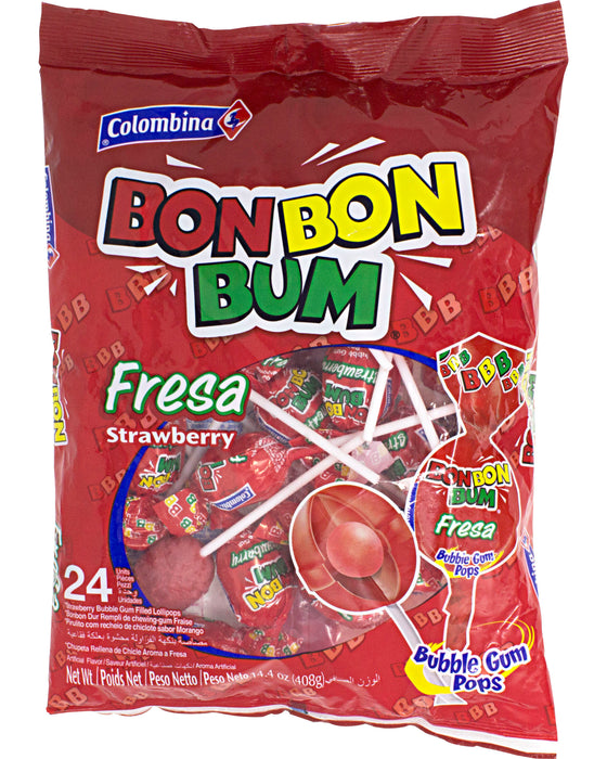 Bon Bon Bum Lollipops (Strawberry Flavor)