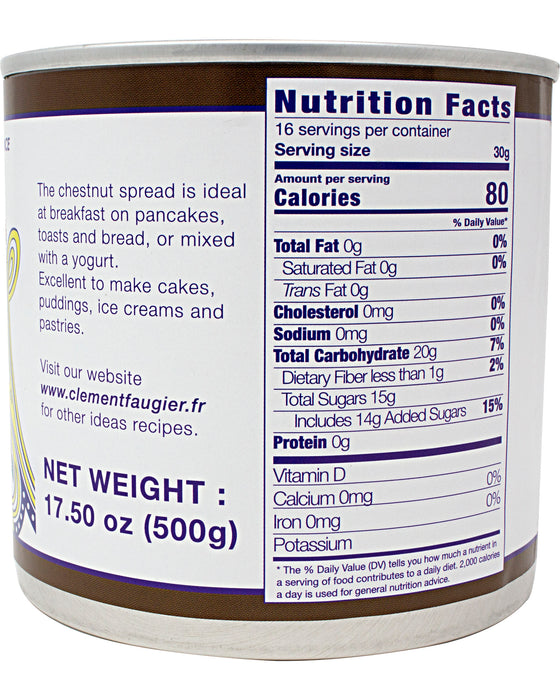 Clement Faugier Chestnut Spread Nutrition Facts