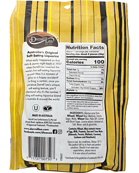 Darrell Lea Soft Australian Licorice Original - Back