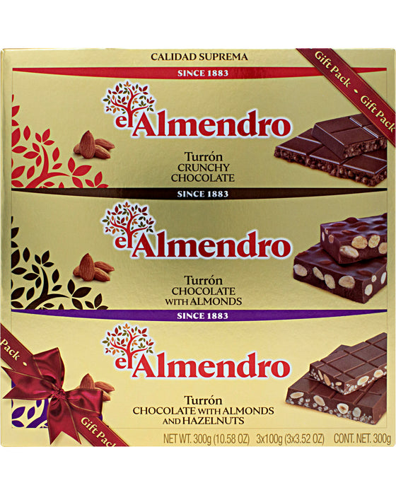 El Almendro Turron, Chocolate and Almond (Gift Pack of 3)