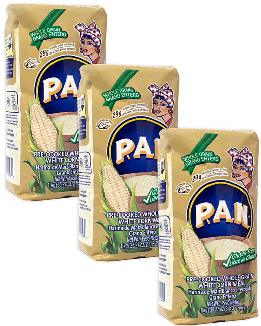 Harina PAN Whole-Grain White Corn Meal - Pack of 3