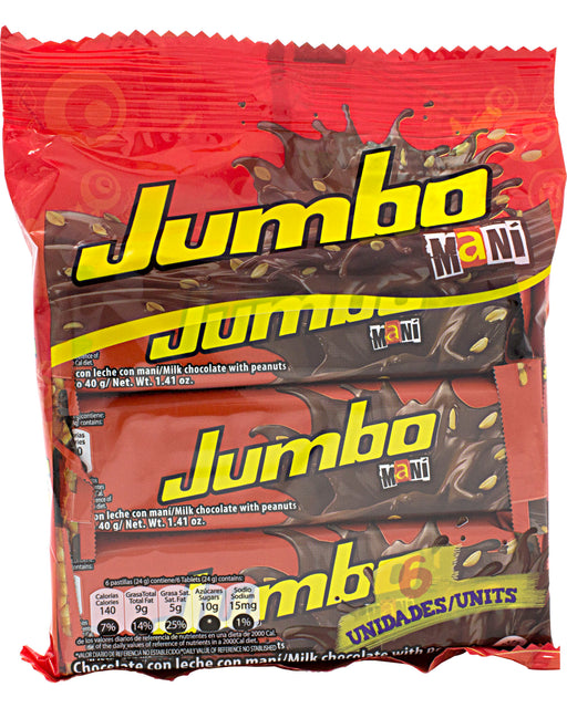 Jet Jumbo Milk Chocolate Bar with Peanuts (Pack of 6)