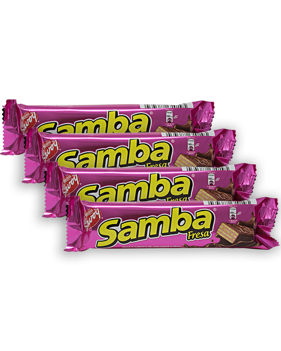 Nestle Savoy Samba Strawberry Wafer (Chocolate Covered) (Pack of 4)