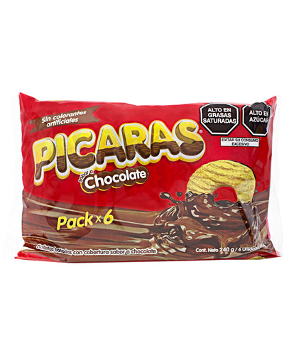 Picaras Cookies with Chocolate Coating (Pack of 6) - 8.4 oz / 240 g