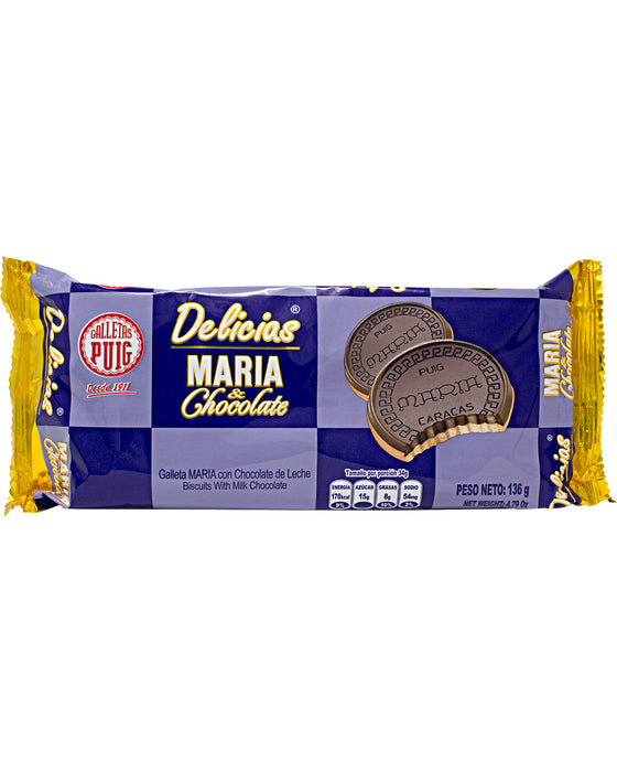 Puig Delicias Maria Cookies with Milk Chocolate - Pack of 4