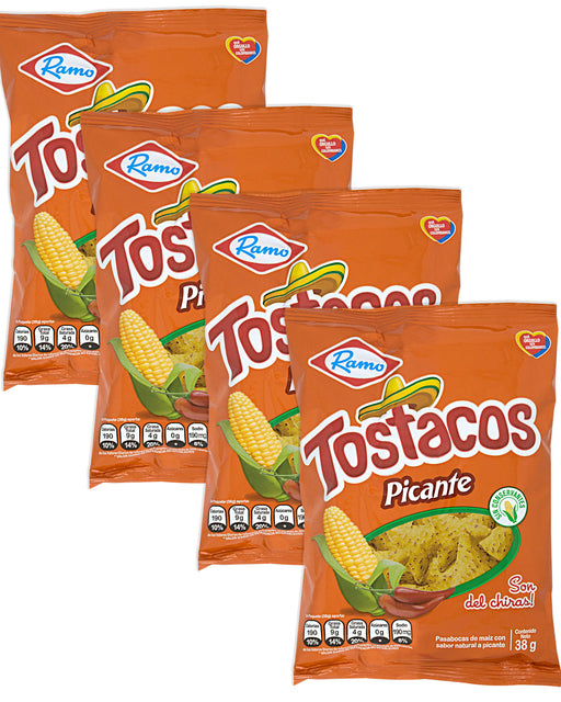 Ramo Tostacos Picantes (Spicy Corn Chips) Pack of 4