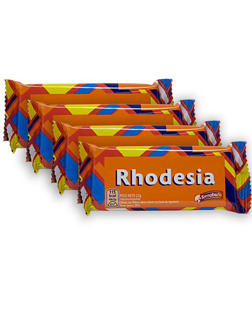 Terrabusi Rhodesia Lemon Wafer Cookies with Chocolate Coating (4 Pack)