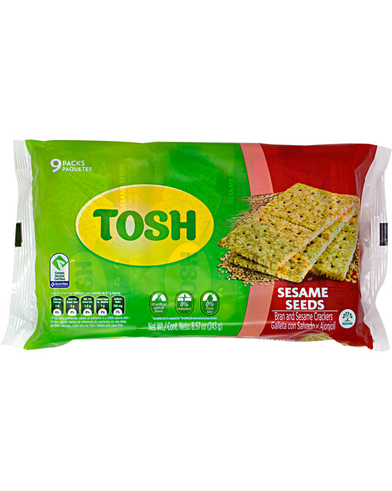 Tosh Crackers, Sesame Seeds (Pack of 9)