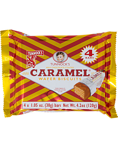 Tunnock's Caramel Wafer Biscuits (Pack of 4) - 4.2 oz / 120 g