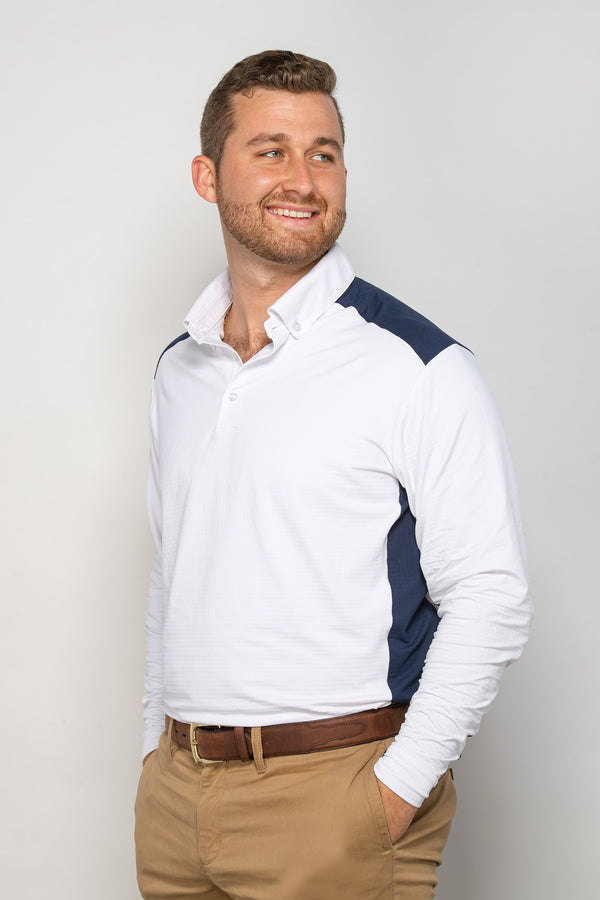 EIS Mens White/Navy Long Sleeve COOL Shirt ®