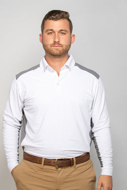 EIS Mens White/Grey Long Sleeve COOL Shirt ®