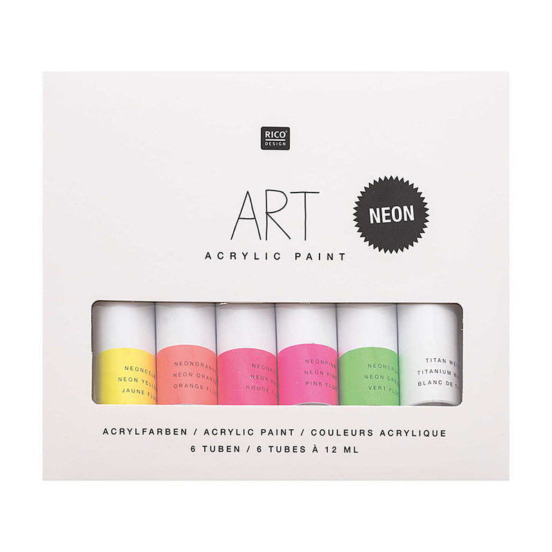 Art Acrylic Paint Set 6 x 12 ml Artist Colour Neon Colours - MUDAM STORE