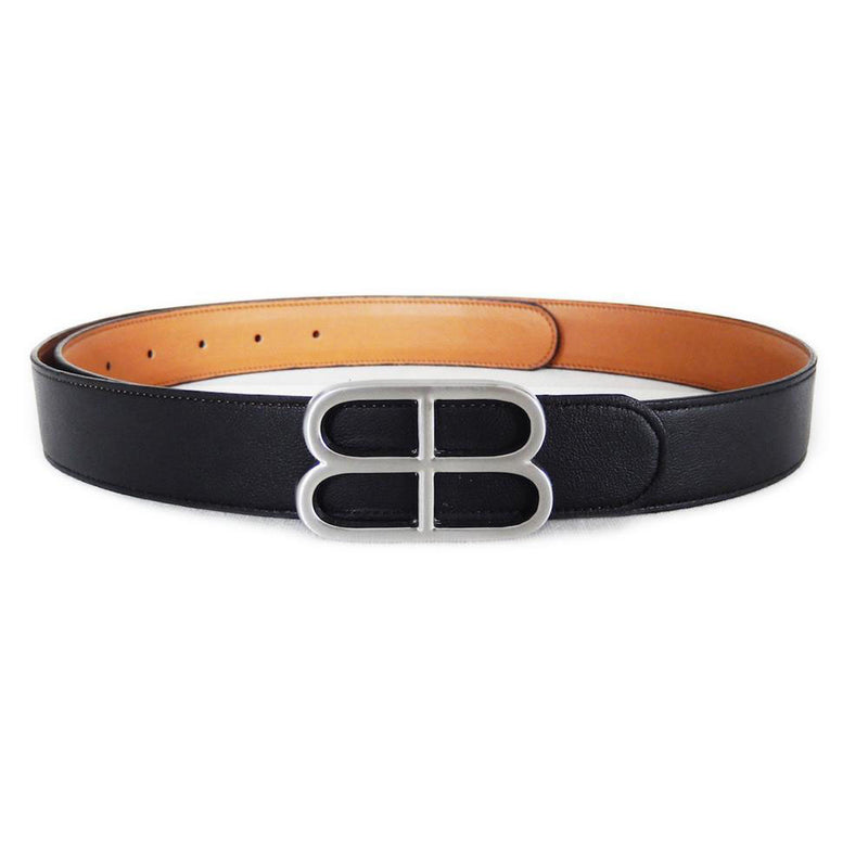 Vegetable Tanned Leather Unisex Reversible Belt With B Buckle